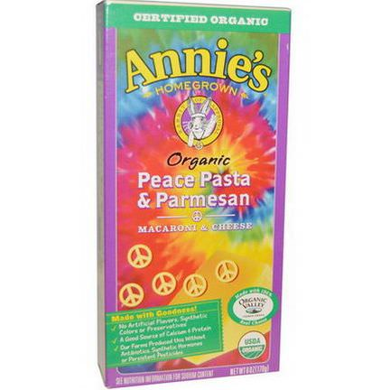 Annie's Homegrown, Organic, Macaroni and Cheese, Peace Pasta and Parmesan 170g