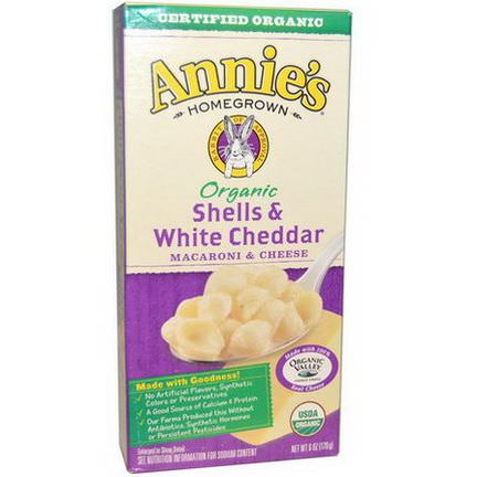 Annie's Homegrown, Organic, Macaroni and Cheese, Shells and White Cheddar 170g