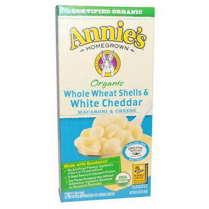 Annie's Homegrown, Organic, Macaroni and Cheese, Whole Wheat Shells and White Cheddar 170g