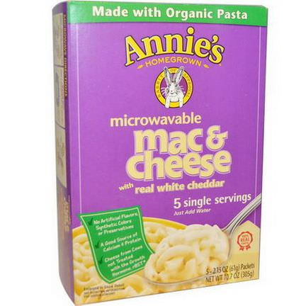 Annie's Homegrown, Organic Microwavable Mac&Cheese with Real White Cheddar, 5 Packets 61g Each