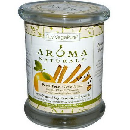 Aroma Naturals, 100% Natural Soy Essential Oil Candle, Peace Pearl, Orange, Clove&Cinnamon 260g