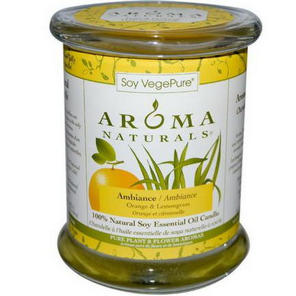 Aroma Naturals, Soy VegePure, 100% Natural Soy Essential Oil Candle, Ambiance, Orange&Lemongrass 260g