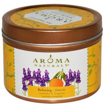 Aroma Naturals, Soy VegePure, Travel Tin Candle, Relaxing, Lavender&Tangerine 79.38g