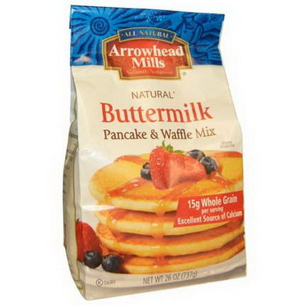 Arrowhead Mills, Natural Pancake and Waffle Mix, Buttermilk 737g