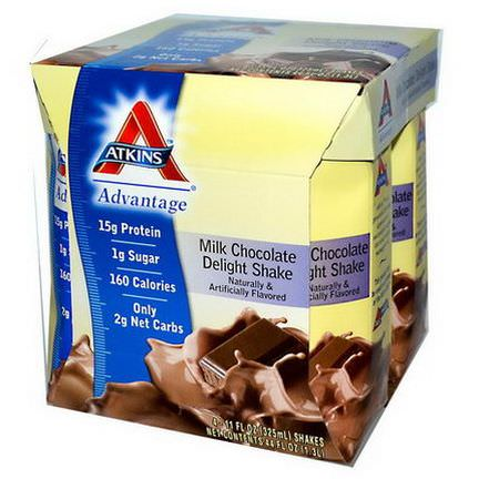 Atkins, Advantage, Milk Chocolate Delight Shake, 4 Shakes 325ml Each