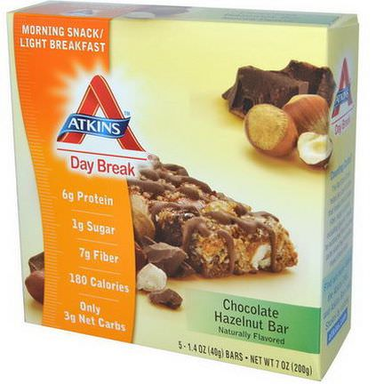 Atkins, Day Break, Morning Snack / Light BreakfastChocolate Hazelnut Bar, 5 Bars 40g Each