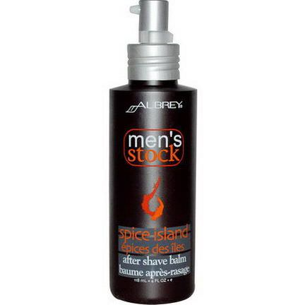 Aubrey Organics, Men's Stock, After Shave Balm, Spice Island 118ml