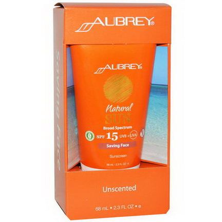 Aubrey Organics, Natural Sun, SPF 15, Saving Face Sunscreen, Unscented 68ml