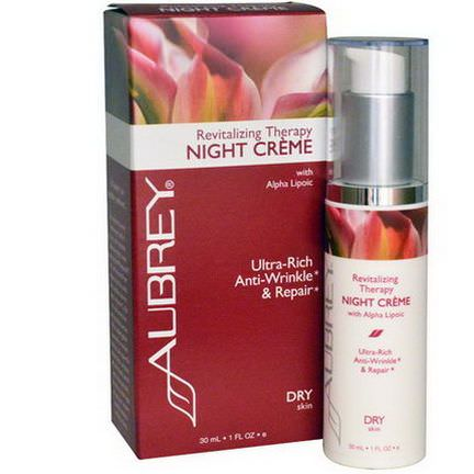 Aubrey Organics, Revitalizing Therapy Night Cream, Dry Skin 30ml
