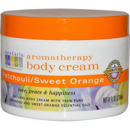 Aura Cacia, Aromatherapy Body Cream, Patchouli / Sweet Orange 236ml