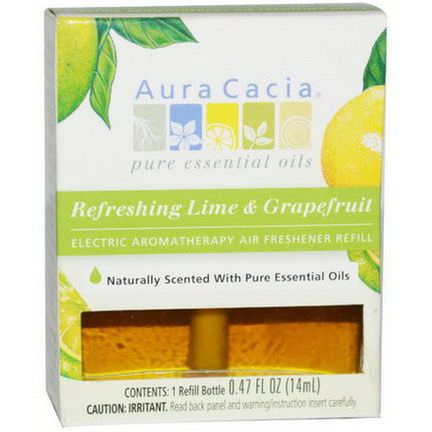 Aura Cacia, Electric Aromatherapy Air Freshener Refill, Refreshing Lime&Grapefruit, 1 Refill Bottle 14ml