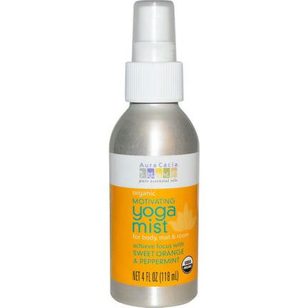 Aura Cacia, Organic, Yoga Mist, Motivating, Sweet Orange&Peppermint 118ml