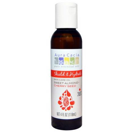 Aura Cacia, Shield&Hydrate, Skin Care Oil, Sweet Almond Cherry Seed 118ml
