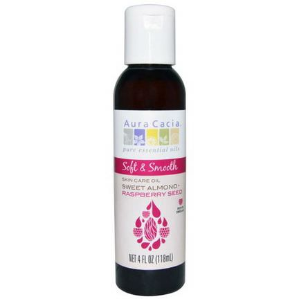 Aura Cacia, Soft&Smooth, Skin Care Oil, Sweet Almond Raspberry Seed 118ml