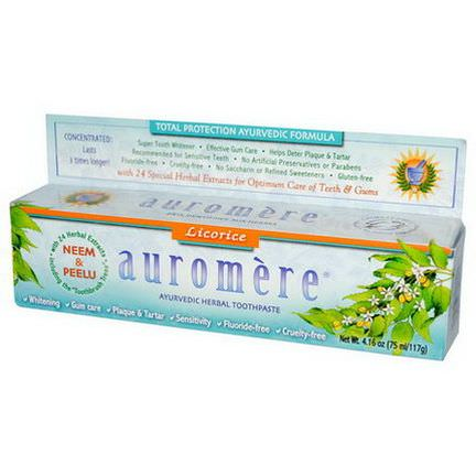 Auromere, Ayurvedic Herbal Toothpaste, Licorice 75ml/117g