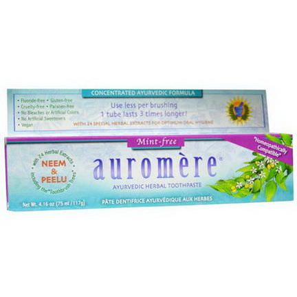 Auromere, Ayurvedic Herbal Toothpaste, Mint-Free 117g