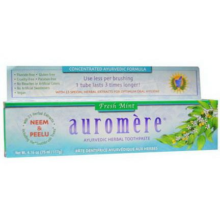 Auromere, Ayurvedic Herbal Toothpaste, Fresh Mint 117g