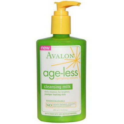 Avalon Organics, Cleansing Milk, Age-Less Age-Fighting Vitamins 251ml