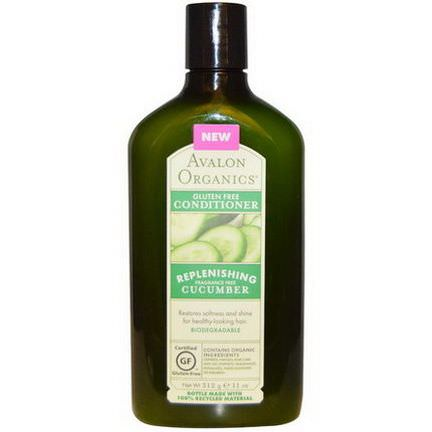 Avalon Organics, Gluten Free Conditioner, Replenishing Cucumber, Fragrance Free 312g