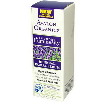 Avalon Organics, Renewal Facial Serum, Lavender Luminosity 30ml