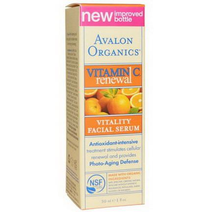 Avalon Organics, Vitamin C Renewal, Vitality Facial Serum 30ml