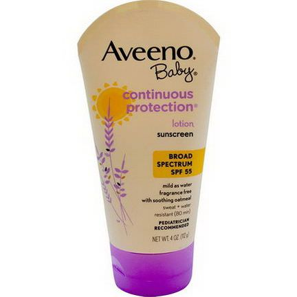 Aveeno, Baby, Continuous Protection Lotion, Sunscreen, SPF 55, Fragrance Free 112g