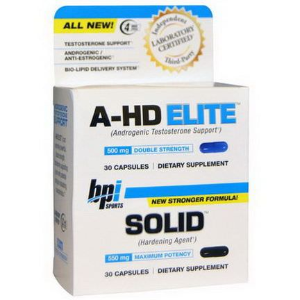BPI Sports, A-HD Elite, Solid, 2 Bottles, 30 Capsules Each