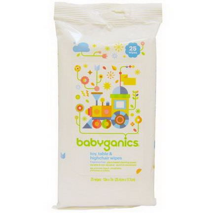 BabyGanics, Toy, Table&Highchair Wipes, Fragrance Free, 25 Wipes