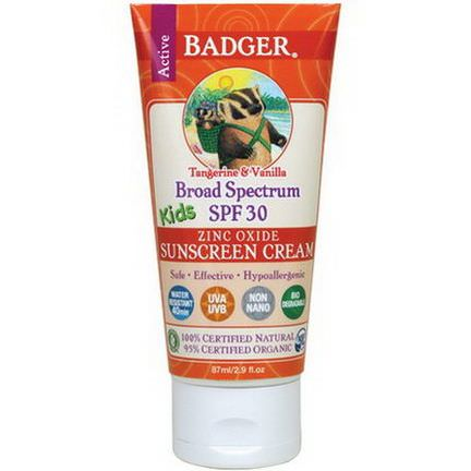 Badger Company, Active Kids, Zinc Oxide Sunscreen Cream, SPF 30, Tangerine&Vanilla 87ml