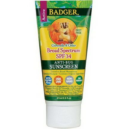Badger Company, Anti-Bug Sunscreen, Broad Spectrum SPF 34 87ml