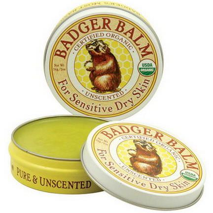 Badger Company, Badger Balm, For Sensitive Dry Skin, Unscented 56g