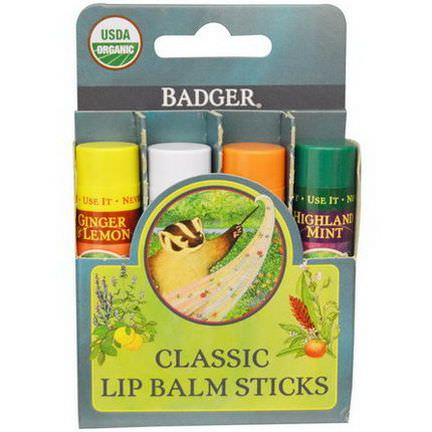 Badger Company, Classic Lip Balm Sticks, 4 Sticks 4.2g Each