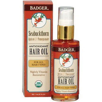 Badger Company, Seabuckthorn Antioxidant Hair Oil, Apricot&Pomegranate 59.1ml