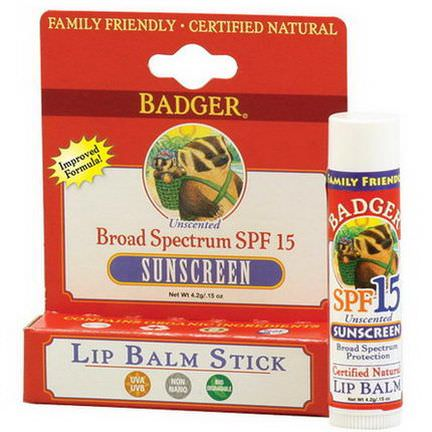 Badger Company, Sunscreen Lip Balm Stick, SPF 15, Unscented 4.2g