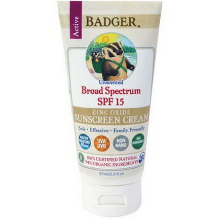 Badger Company, Zinc Oxide Sunscreen Cream, Broad Spectrum SPF 15, Unscented 87ml