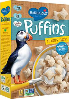 Barbara's Bakery, Puffins Cereal, Honey Rice 283g