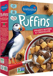 Barbara's Bakery, Puffins Cereal, Peanut Butter&Chocolate 298g