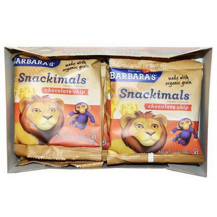 Barbara's Bakery, Snackimals, Animal Cookies, Chocolate Chip, 6 Bags 28g Each