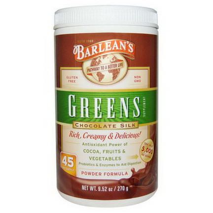 Barlean's, Greens Supplement, Powder Formula, Chocolate Silk 270g
