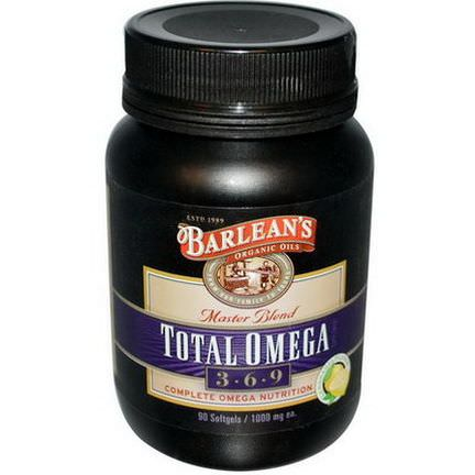 Barlean's, Total Omega 3 - 6 - 9, Master Blend, Lemonade Flavor, 1000mg, 90 Softgels