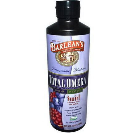 Barlean's, Total Omega 3-6-9 Vegan, Pomegranate Blueberry 454g