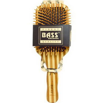 Bass Brushes, Large Square Paddle Brush, Cushion Wood Bristles with Stripped Bamboo Handle, 1 Hair Brush