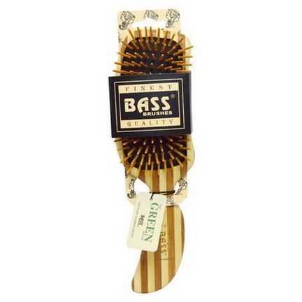 Bass Brushes, Semi S Shaped, Hair Brush, Wood Bristles with Stripped Bamboo Handle, 1 Hair Brush