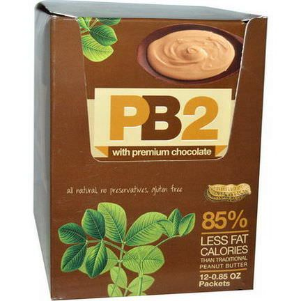 Bell Plantation, PB2, Powdered Peanut Butter with Premium Chocolate, 12 Packets, 0.85 oz Each