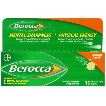 Berocca, Mental Sharpness Physical Energy, Orange Flavor, 10 Effervescent Tablets