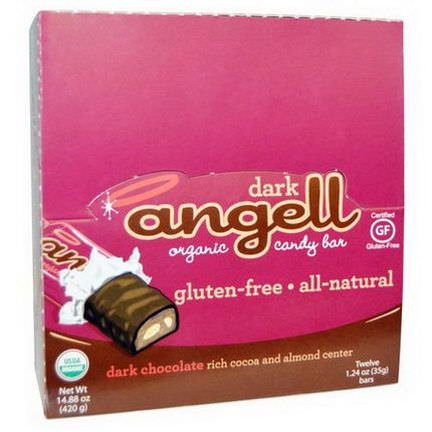 Betty Lou's, Dark Angell, Organic Candy Bar, Dark Chocolate Almond, 12 Bars 35g Each