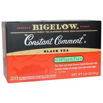 Bigelow, Black Tea, Constant Comment, Decaffeinated, 20 Tea Bags 33g