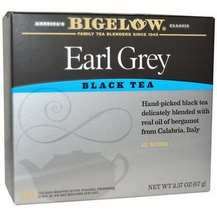 Bigelow, Earl Grey, Black Tea, 40 Tea Bags 67g