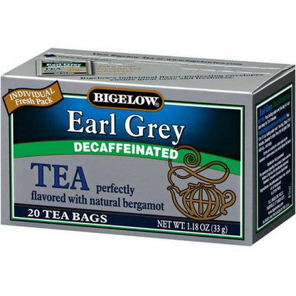 Bigelow, Earl Grey, Decaffeinated, 20 Tea Bags 33g