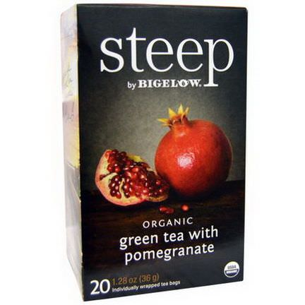 Bigelow, Steep, Organic Green Tea with Pomegranate, 20 Tea Bags 36g